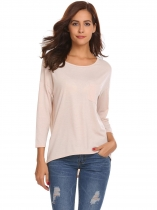 Apricot Women O Neck Long Sleeve Loose Irregular Hem Tops