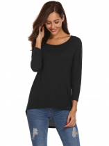 Black Women O Neck Long Sleeve Loose Irregular Hem Tops