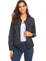 Navy blue Women Lightweight Zip Up Floral Drawstring Hem Casual Loose Jacket