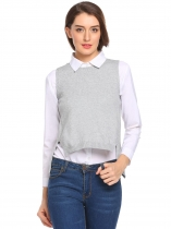 Grey Gray Mulheres Casual O-Neck Sem mangas Solid Back Split Asymmetrical Hem Pullover Sweater Vest
