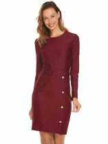 Wine red Femmes col rond à manches longues rayé Slim taille ceinture bouton robe moulante crayon
