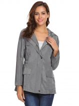 Gray Women Casual Hooded Long Sleeve Zipper Lightweight Jacket with Side Pockets