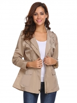 Beige Women Casual Hooded Long Sleeve Zipper Lightweight Jacket with Side Pockets