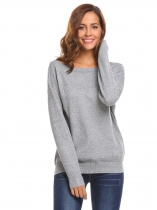 Gray Women Long Sleeve Boat Neck Knitting Pullover Solid Loose Sweater
