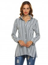 Gray Women Casual Button Down Shirt Turn Collar Striped Loose Long