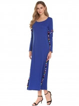 Námořnická modrá Women Long Sleeve Casual Loose Pompom Maxi Dress