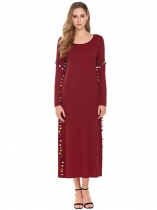 Wine red Women Long Sleeve Casual Loose Pompom Maxi Dress