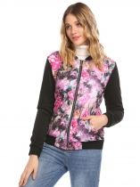 Purple Red Mujeres de manga larga Zip Up Imprimir Patchwork Chaqueta de abrigo pitillo