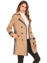 Khaki Women Long Jacket Outwear Lapel Sleeve Double Breasted Belted Coats