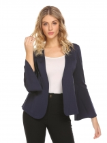 Navy blue Women Solid Padded Shoulder Long Sleeve Slim Fit Blazer