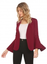 Wine red Women Solid Padded Shoulder Long Sleeve Slim Fit Blazer