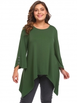 Army green Women Plus Size O-Neck 3/4 Sleeve Button Asymmetrical Top