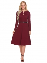 Wine red Women Fashion V-Neck Long Sleeve Solid Keyhole Midi Dress with Belt