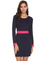 Navy blue O Neck Long Sleeve Slim Waist Tunic Patchwork Mini OL Dress
