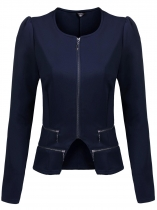 Navy blue O-Neck Zip Up Long Sleeve Solid Short Irregular Slim Casual Jacket