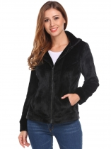 Black Women Casual Hooded Long Sleeve Zip-up Fleece Jacket