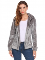 Dark gray Women Casual Hooded Long Sleeve Zip-up Fleece Jacket
