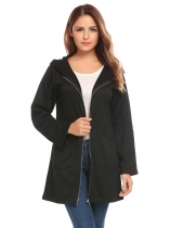 Black Women's Drawstring Hooded Full Zip Solid Casual Long Coat with Pocket