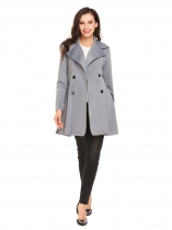 Gray Women Double Breasted Lapel Long Sleeve Solid Trench Coat Outwear