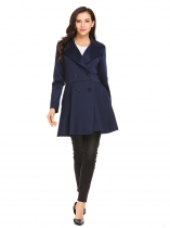 Azul marinho Mulheres Double Breasted Lapel Long Sleeve Solid Trench Coat Outwear