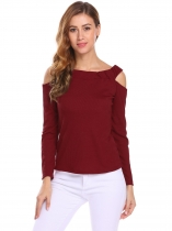 Wine red Women Off Shoulder Cut Out Long Sleeve Casual Knitted Casual Tops
