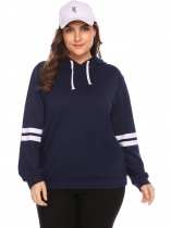 Navy blue Women Plus Size Long Sleeve Hooded Sweatshirts Pullover Hoodie