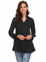 Black Women Fashion Stand Neck Long Sleeve Solid Shirt with Belt