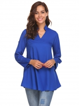 Dark blue Women Fashion Stand Neck Long Sleeve Solid Shirt with Belt