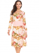 Pink Femmes col rond manches longues Split Floral Patchwork Casual A Line Dress