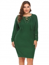 Green Women Long Sleeve Cozy Lace Up Knit Sweater Dress