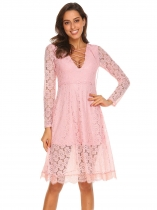 Pink Women Sexy Lace-Up Deep V-Neck Long Sleeve Lace A-Line Dress