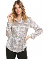 Beige Women Long Sleeve Polka Dot Satin Button Down Casual Shirt
