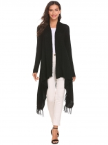 Black Tassel Irregular Loose Solid Knit Cardigan Sweater Open Front