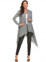 Cinza-claro Mulheres Tassel Irregular Loose Solid Knit Cardigan Sweater Open Front