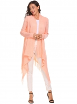 Orange Pink Women Tassel Irregular Loose Solid Knit Cardigan Sweater Open Front