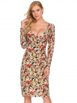 Apricot Women Casual Wrap Split V Neck Long Sleeve Floral Printed Retro Pencil Dress