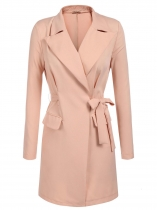 Pink Lapel Open Front Wrap Belted Casual Long Trench Coat w/ Shoulder Padded