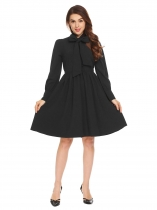 Черный Черный Женщины Tie Bow Neck Long Sleeve Solid Fit и Flare Evening Party Shirt Dress
