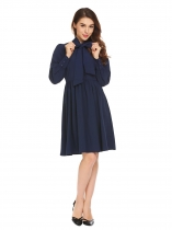 Navy blue Женщины Tie Bow Neck Long Sleeve Solid Fit и Flare Evening Party Shirt Dress