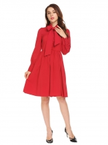 Red Tied bow Neck Long Sleeve Fit and Flare Shirt Dress