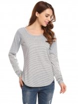Gray Women Casual Round Neck Long Sleeve Striped Contrast Color Basic Tee T Shirt