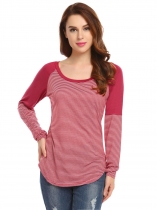 Wine red Women Casual Round Neck Long Sleeve Striped Contrast Color Basic Tee T Shirt