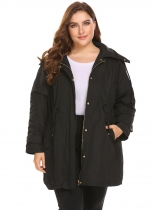 Black Women Casual Removable Hooded Thickened Warm Winter Puffer Coat