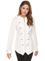 White Women Zip Front Stand Collar Military Style Light Jacket