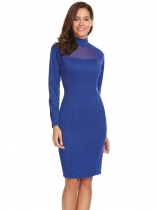 Royal Blue Mulheres Stand Collar Long Sleeve Mesh Patchwork Slim Fit Going Out Dress