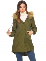 Army green Women Casual Hooded Drawstring Long Sleeve Button Zipper Pocket Artificial Feather Warm Thick Coat