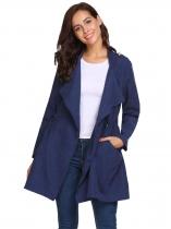 Navy blue Women Draped Lapel Long Sleeve Drawstring Waist Windbreaker Trench Coat Cardigan