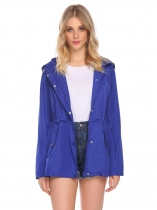 Blue Women Casual Hooded Long Sleeve Zipper Lightweight Waterproof Raincoat