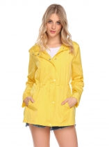 Yellow Women Casual Hooded Long Sleeve Zipper Lightweight Waterproof Raincoat