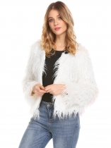 White Women Winter Warm Faux Fur Long Sleeve Hook & Eye Solid Crop Coat Outwear
